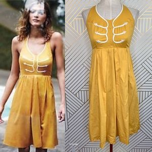Anthropologie Floreat Anchors Aweigh Dress Yellow